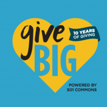 Give Big Washington Heart Shaped Logo - 10 Years of Giving - Powered by 501 Commons