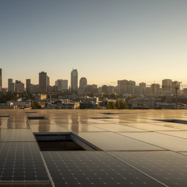 Photo of Seattle from the solar array-lined roof of the Bullitt Center