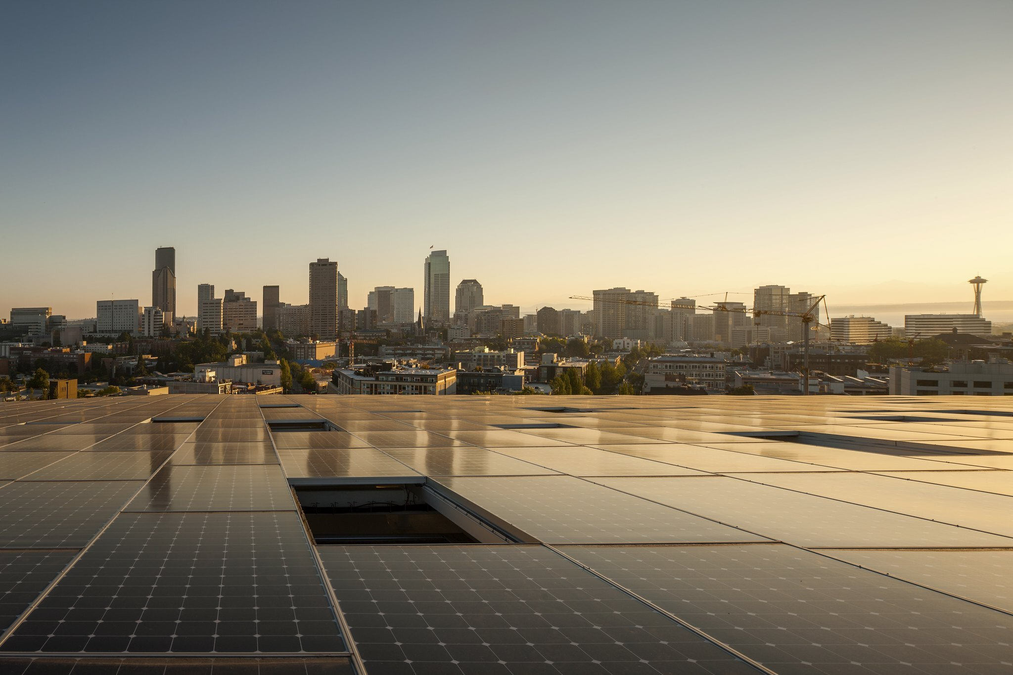 Photo of Seattle from solar array-lined roof of the Bullitt Center